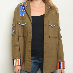 Jackets & Blazers - OLIVE EMBROIDERED JACKET